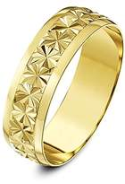 Theia 9ct Yellow Gold Heavy Weight - Star Centre Design D-Shape 6mm Wedding Ring - Size M