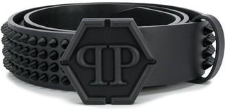 Philipp Plein Logo Plaque Studded Belt