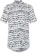 Topman Black and White Fingerprint Print Short Sleeve Casual Shirt