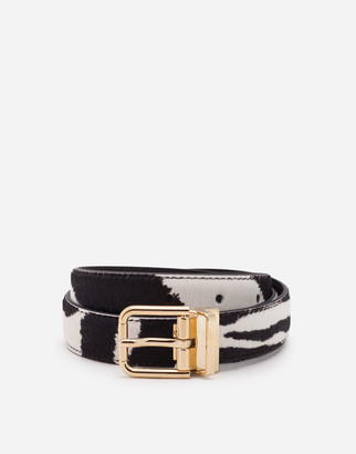Dolce & Gabbana Zebra Print Belt In Pony-Style Calfskin