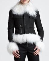 McQ by Alexander McQueen Shearling-Trim Moto Jacket