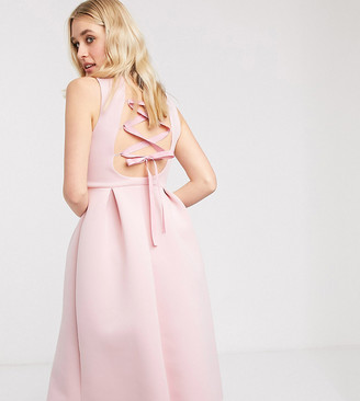 Asos DESIGN Tall high neck sleeveless midi prom dress with lace up back in soft pink