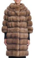 Simonetta Ravizza Seamed Sable Fur Coat with Zip-Off Bottom