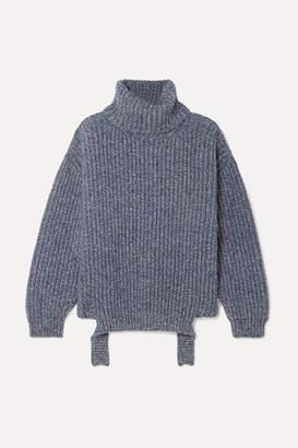 Balenciaga Ribbed Melange Wool Turtleneck Sweater - Blue