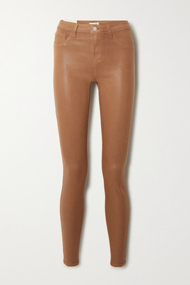 L'Agence Marguerite Coated High-rise Skinny Jeans - Tan