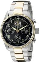 Akribos XXIV Men's AK862TTG Round Black Dial Chronograph Quartz Two Tone Bracelet Watch