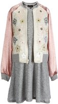 Teeze Me Girls Big Girls 7-16 Fit-And-Flare Dress & Sequin Bomber Jacket Set