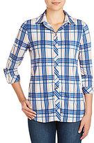 Peter Nygard Plaid Hi-Low Hem Shirt