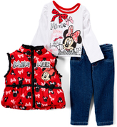 Children's Apparel Network Minnie Mouse White 'Loves Fashion' Long-Sleeve Tee Set - Infant