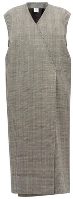 Vetements Houndstooth Single-breasted Sleeveless Wool Coat - Womens - Grey