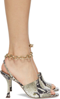 Jimmy Choo Off-White Snake Sae 90 Sandals