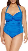 Liz Claiborne Solid One Piece Swimsuit- Plus