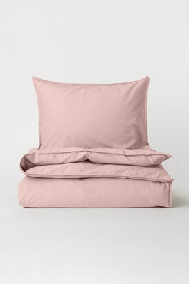 H&M Washed Cotton Duvet Cover Set - Pink