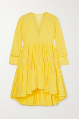 Kalita Vega Tiered Cotton-voile Mini Dress - Saffron