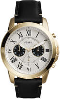 Fossil Men's Chronograph Grant Black Leather Strap Watch 44mm FS5272