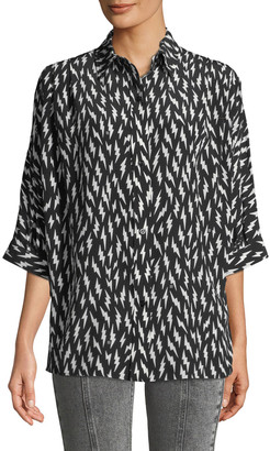 Givenchy Short-Sleeve Button-Down Lightning-Bolt Silk Blouse