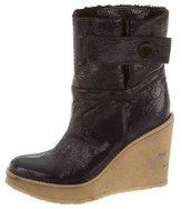 Stella McCartney Vegan Patent Leather Wedge Boots