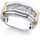 Macy's Men's Diamond (1 ct. t.w.) Ring in 10k White and Yellow Gold