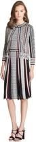 Oscar de la Renta Fringed Cotton-Blend Knit 3⁄4-Sleeve Jacket