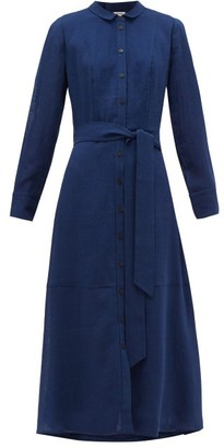 Cefinn - Belted Voile Shirtdress - Womens - Blue