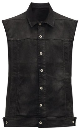 Rick Owens Oversized Sleeveless Denim Jacket - Mens - Black