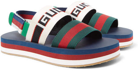 Gucci Webbing-Trimmed Rubber Sandals