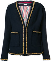 Thom Browne chain detail V-neck jacket - women - Cotton - 40