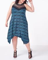 Penningtons Sleeveless Printed Sharkbite Dress with Crochet