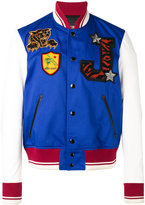 Just Cavalli dice patch varsity jacket - men - Cotton/Leather/Polyester - 46