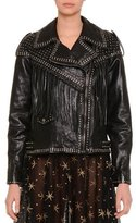 Valentino Asymmetric Zip-Front Leather Moto Jacket, Black