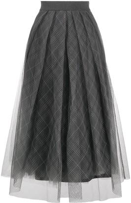 Fabiana Filippi Tulle Tartan Print Skirt