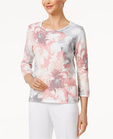 Alfred Dunner Petite Rose Hill Embellished Floral-Print Sweater