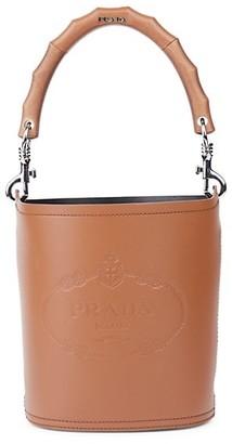 Prada City Heritage Logo Leather Bucket Bag