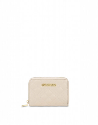 Love Moschino Quilted Zip Around Wallet Woman White Size U It - (one Size Us)