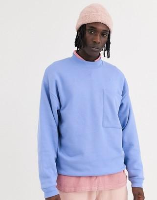 Asos Design DESIGN oversized sweatshirt with large chest pocket-Purple