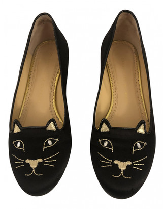 Charlotte Olympia Kitty Black Leather Ballet flats