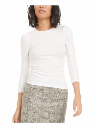 Bar III Womens Ivory Long Sleeve Jewel Neck Top UK Size:16