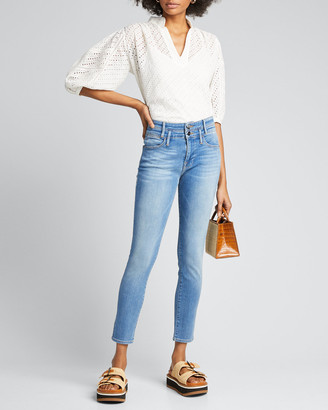 Frame Le High Double-Waistband Cropped Skinny Jeans