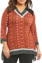 Multiples Plus V-Neck Printed Faux Suede Accents Tunic