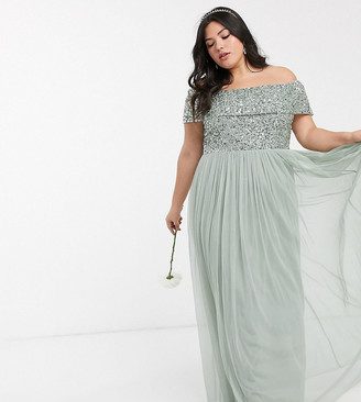Maya Bridesmaid bardot maxi tulle dress with tonal delicate sequins in sage green
