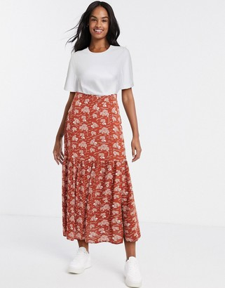 Blend She pleated mini skirt in brown floral