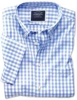 Charles Tyrwhitt Slim Fit Button-Down Non-Iron Poplin Short Sleeve Sky Blue Gingham Cotton Shirt Single Cuff Size Medium