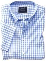 Charles Tyrwhitt Slim Fit Non-Iron Poplin Short Sleeve Sky Blue Gingham Cotton Casual Shirt Single Cuff Size Small