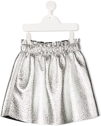 Andorine TEEN wrinkled metallic effect skirt