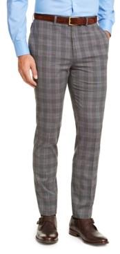 Calvin Klein Men's Slim-Fit Stretch Wrinkle-Resistant Gray/Black Plaid Dress Pants