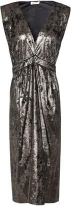 Masscob Douglas Gathered Metallic Crushed-velvet Wrap Dress