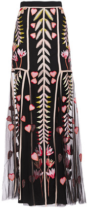Temperley London Rosy Grosgrain-trimmed Embroidered Tulle Maxi Skirt