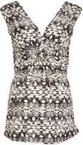 Glam Black & Off-White Geometric Knotted Maternity Sleeveless Top