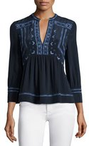 Rebecca Taylor Long-Sleeve Embroidered Top, Navy