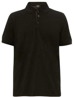 Fendi Ff-placket Cotton-pique Polo Shirt - Black